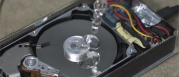 hard drive and water